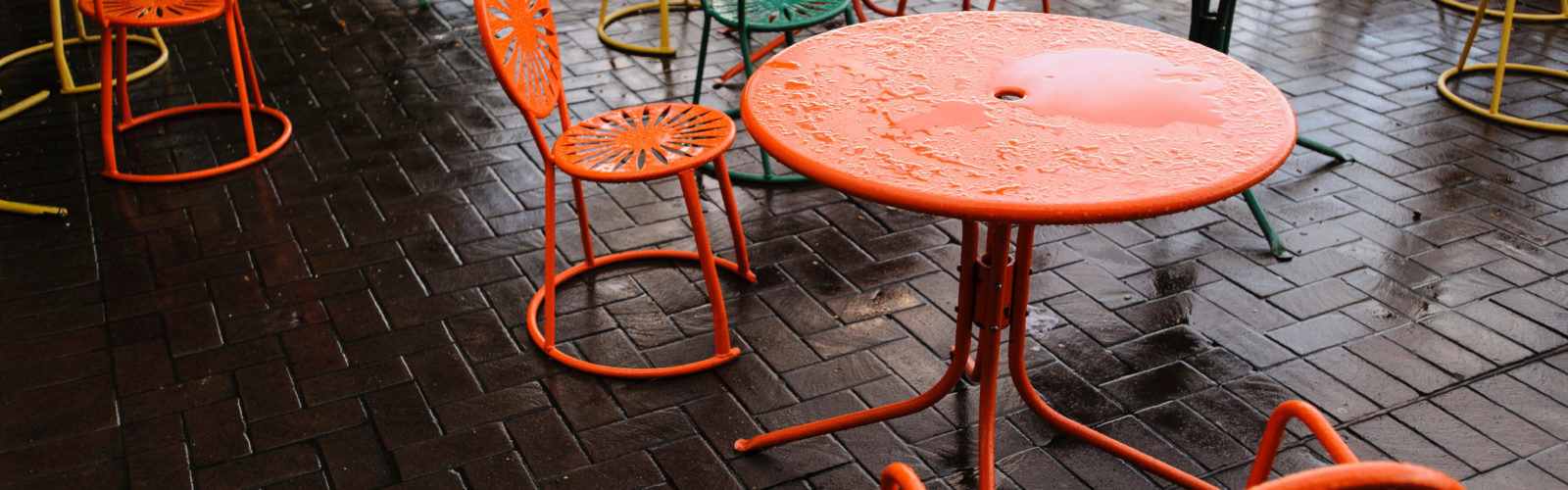Tables and chairs on the Union terrace